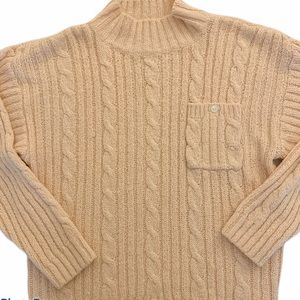 VTG partners cream pink knit chunky sweater large